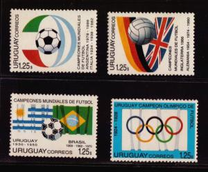 SOCCER WORLD CUP CHAMPIONS EMBLEMS IN 1994 URUGUAY Sc#1527a-d MNH STAMP cv$10