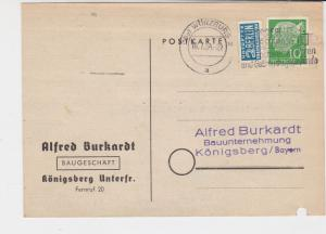 Germany 1954 Wurzburg Cancel Obligatory Tax Aid for Berlin Stamps Card Ref 28118
