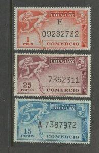 Uruguay Comercio revenue stamp 5-26-142- MNH GUM Scarce as mnh Thomas de la rue-