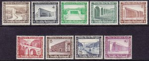 Stamp Germany Mi 634-42 Sc B93-101 1936 Reich Modern Buildings MNG