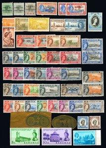 Bahamas #116/#202 1942-1964 Assorted King George VI, Queen Elizabeth Mint & Used