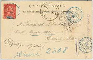 44976  MADAGASCAR -  POSTAL HISTORY: POSTCARD of MAJUNGA to ARGENTINA 1903 blu