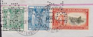 NEW ZEALAND ARMS STAMP DUTY £35, 7/- & 9d Centenary used on piece...........6942
