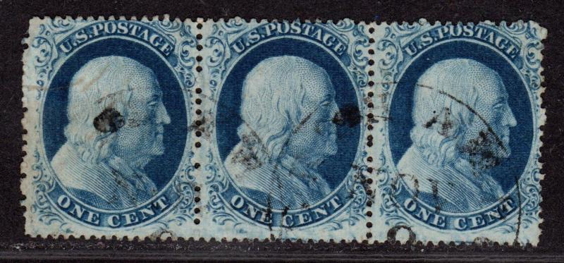 $US SC#22,21,21 used, fine-VF, Rare strip of 3 with cert, CV. $4750