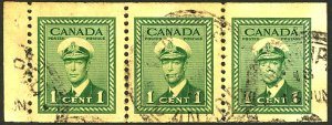 CANADA #249 USED STRIP OF 3