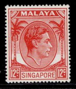 SINGAPORE GVI SG22a, 12c scarlet, LH MINT. Cat £14.