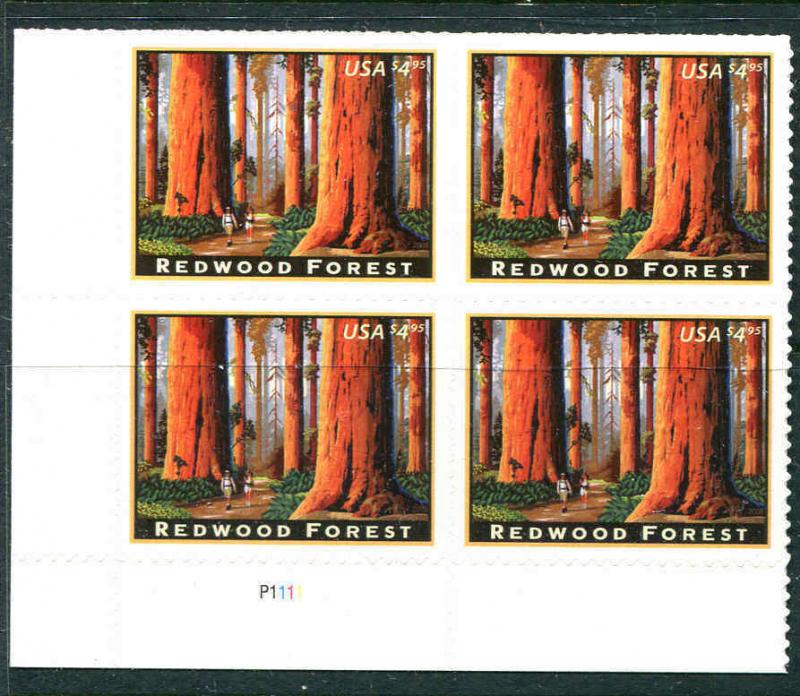 US USA Sc# 4378 MNH FVF PLATE # BLOCK L.R. Position  Redwood Forest