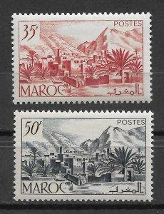 French Morocco 1950,Landscapes,Todra Valley,Scott # 259-260,VF-XF MNH**,(FR-1)