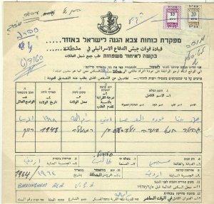 ISRAEL: ZAHAL REVENUES ON DOCUMENTS   (21-07 #235)