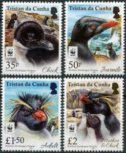 Tristan da Cunha. 2017. North Rockhopper Penguin (MNH OG) Set of 4 stamps