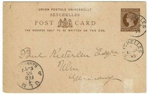 Seychelles 1895 8c postal card used to Germany