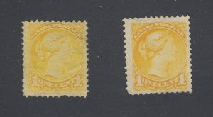2x Canada Small Queen Mint Stamps #35-1c Fine #35i-1c VF Guide Value = $120.00