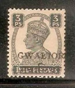 India Convention States -  GWALIOR 1949 3ps KG VI SG - 129 / Sc 118 LOCAL OVE...