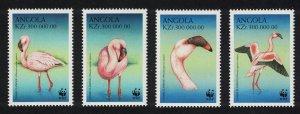 Angola Birds WWF Lesser Flamingo 4v SG#1402-1405 MI#1321-1324 SC#1058 a-d CV