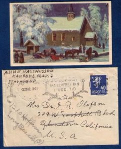 1948 Norway Sc 200a Postal History Cover/With A Very Old Christmas Greeting Car