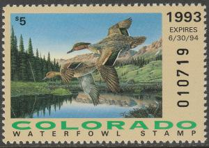 U.S.-COLORADO 4, STATE DUCK HUNTING PERMIT STAMP. MINT, NH. VF