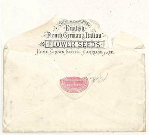 QQ69 1883 GB ADVERT Stourbridge FLOWER SEED Merchant PERFIN {samwells-covers}