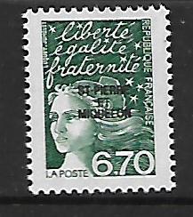 ST. PIERRE & MIQUELON, 655, MNH, FRANCE OVPTD ST. PIERRE ET MIQUELON