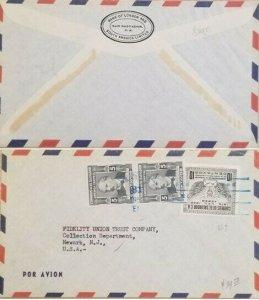 A) 1950, EL SALVADOR, UNION POSTAL AEREA, U.P.U, SHIPPED TO NEWARK, NEW JERSEY,