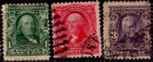 US Scott #300-302 - Regular Issue 1902-03 Perf 12 w/ #191 Water Mark CV~$5