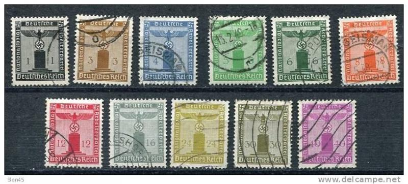 Germany 1942 Mi 155-165 Dienstmarken Used CV 260 Euro