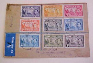 ST. HELENA  1948 SET OF 9 DIFF. REGISTERED COVER TO ENGLAND