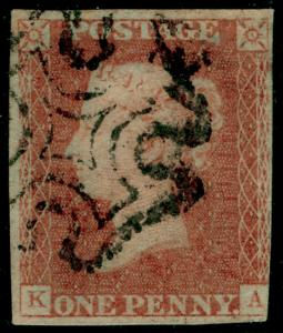 SG8, 1d red-brown PLATE 24, USED. Cat £60. BLACK MX. KA