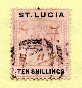 Saint Lucia - SG# 52 Used/ 10 Shilling QV  -  Lot 0915196