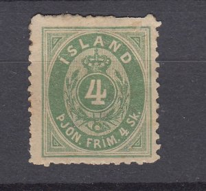 J29757, 1873 iceland mh #o3 perf 12 1/2 perf & light thin spots $110.00 scv