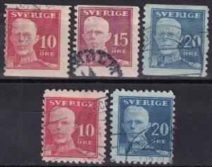 Sweden #139-43  F-VF Used CV $18.35 (Z5073)