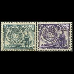 NORFOLK IS. 1956 - Scott# 19-20 First Settlers Set of 2 LH