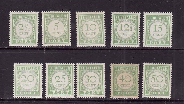 Netherlands Antilles-Sc.#J21-30-Unused very light hinged Postage Due set-1915-
