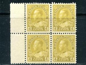 Canada #110  Block 4  Mint F-VF  3 stamps NH