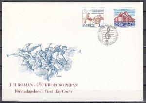 Sweden, Scott cat. 2093-2094. Composer J. Roman & Opera. First day cover. ^