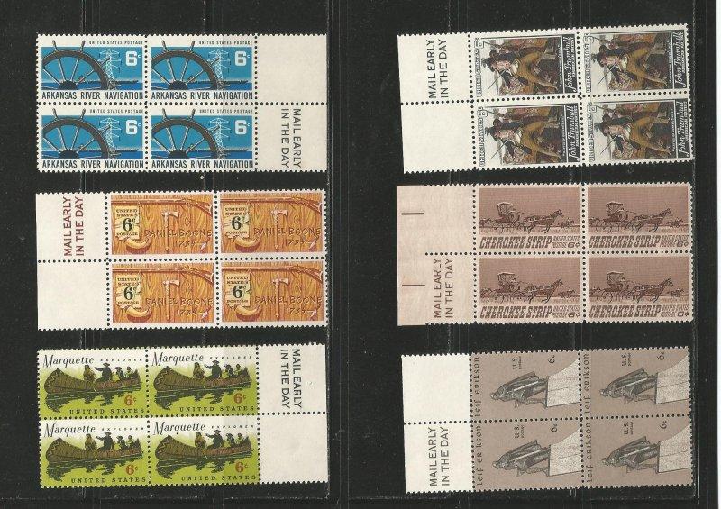 USA Stamps #1356 thru 1361 Blocks of 4