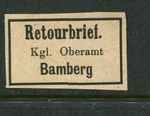 Germany Retourbrief Bamburg Bavaria Return Letter Label