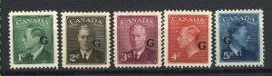 Canada #O16-O20   Mint VF OG  1950 PD