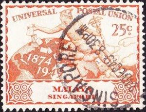 SINGAPORE 1949 25c Orange UPU SG35 Used