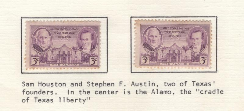 US 1936 Stamps Texas Centennial 2 Stamps Scott 776 MH