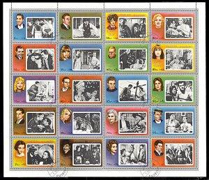 Fujeira Michel 1124 A-1143A, CTO, Movie Stars sheet of 20