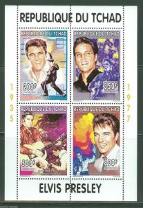CHAD 1996 ELVIS PRESLEY  SHEET OF FOUR   MINT NH