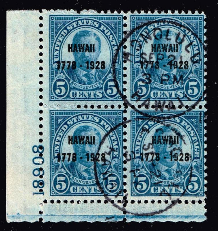 US STAMP # 648 – 1928 5c Discovery of Hawaii PL# BLK OF 4 HAWAII CDS - RARE -