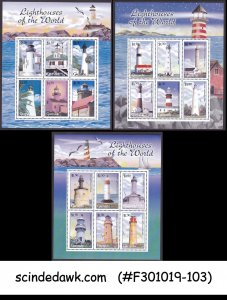 GRENADA - 2001 LIGHTHOUSE OF THE WORLD - SET OF 3 MINIATURE SHEET MNH