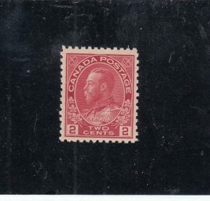 CANADA (KSG602) # 106ix VF-MNH 2cts KGV ADMIRAL /HAIRLINES /DP ROSE RED CAT $300