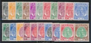 1951/55 Malaya Kelantan Sultan Definitives, set of 21, MLH SG 61-81