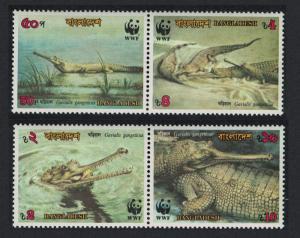Bangladesh Gharial Crocodile WWF 4v pair 1990 MNH SG#340-343