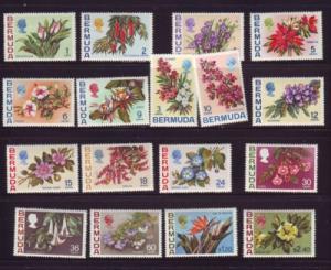 Bermuda Sc 255-71 1970 Flowers long stamp set mint NH