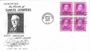 #988, 3c Samuel Gompers, Fleetwood cachet, block of 4