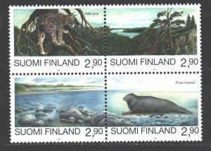 Finland. 1995. Quart 1291-94. Fauna lynx seal. MNH.