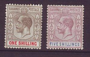 J24085 JLstamps 1921-34 bahamas mhr #80,83 king 1 & 5 sh